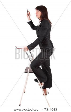 Business Woman Climbing Ladder