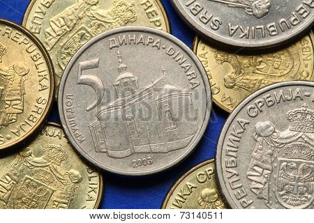 Coins of Serbia. Krusedol monastery in Vojvodina, Serbia, depicted in Serbian five dinars coin.