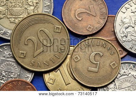 Coins of Latvia. Old Latvian lats and santimi coins.