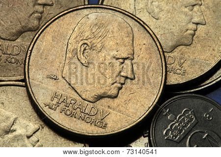 Coins of Norway. King Harald V of Norway depicted in Norwegian krone coins.