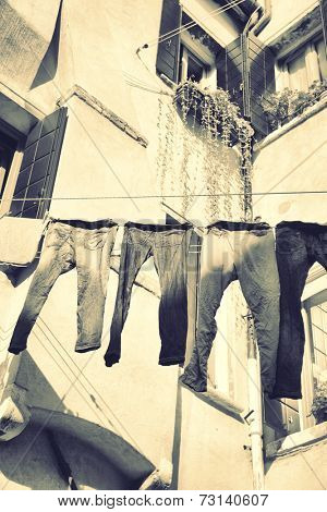 Clothes airing outdoor in Venice, Italy. Black and white, Instagram style filter