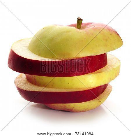 Sliced apple, studio isolated on white background