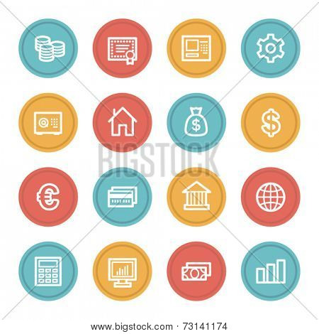 Money web icons, color circle buttons