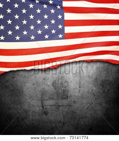 Jagged American flag on dark background