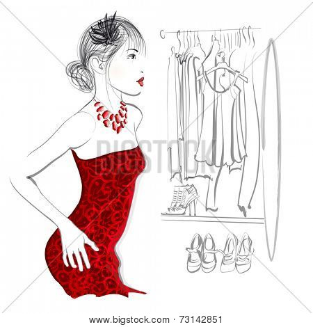 Young woman trying red dress looking in mirror, standing in clothes store or in a dressing - vector illustration
