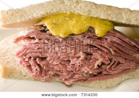 Tongue And Corned Beef Sandwich On Jewish Rye Bread
