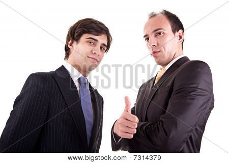 Two Young Businessmen Giving Consent