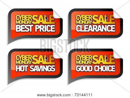 Cyber monday sale stickers set.