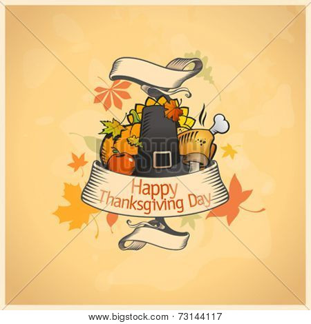 Thanksgiving day card with ribbon and  traditional stuffs. Eps10