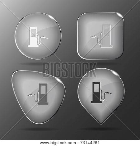 Fueling station. Glass buttons. Vector illustration.