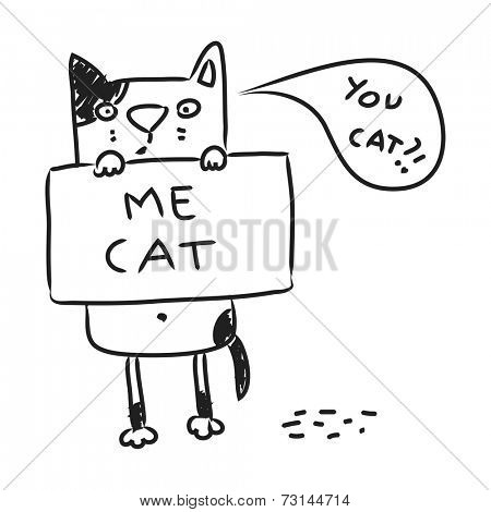 Cat drawing, line art doodle. Cartoon kitten holding a sign, vector illustration.