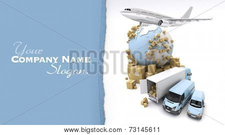 3D rendering of the Earth, cardboard boxes, a van, a truck and a flying plane. The Earth comes from the Nasa free of use images