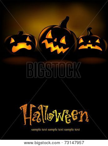 Halloween banner with three spiteful Jack o Lanterns, vector illustration