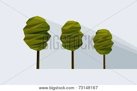 vector low-poly three tree