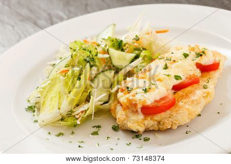 chicken schnitzel with salad
