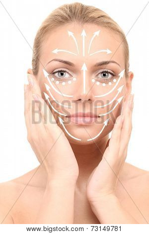 Face massage.Beautiful woman's face, isolated on white (with arrows)
