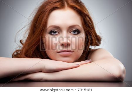 Young Woman With Red Hair Portrait