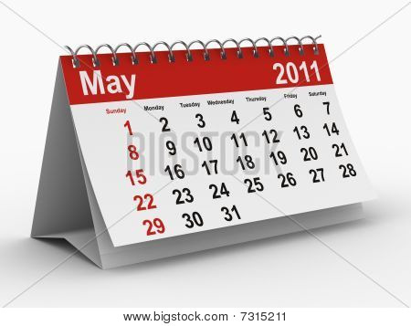 2011 Year Calendar. May. Isolated 3D Image