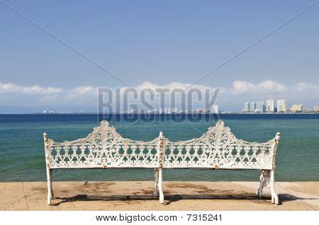 Bench On Malecon In Puerto Vallarta, Mexico