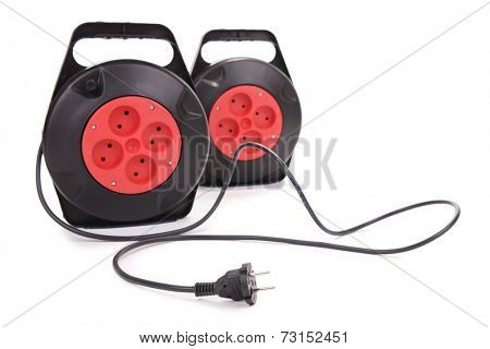 Extension electric cable reels isolated on white background