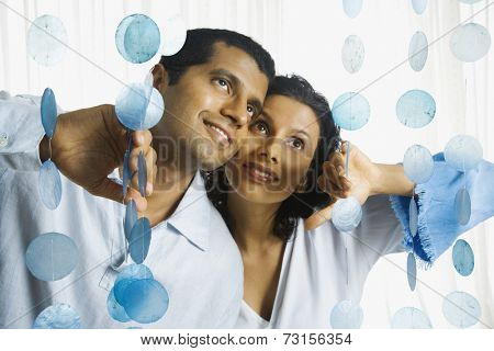 Indian couple parting novelty curtain
