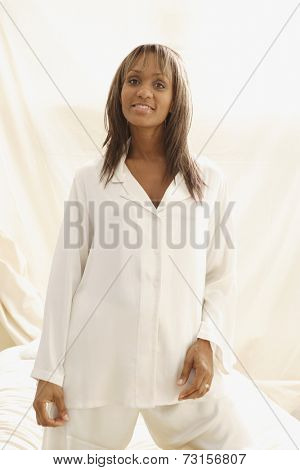 Portrait of African woman in pajamas