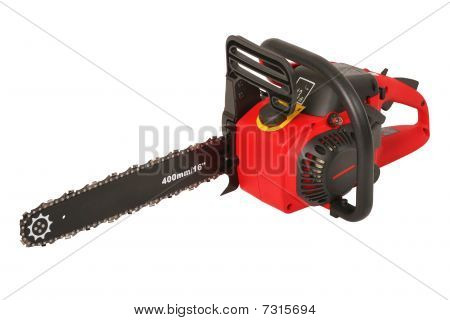 Red new chainsaw