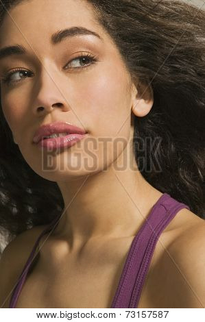 Close up of African woman looking sideways