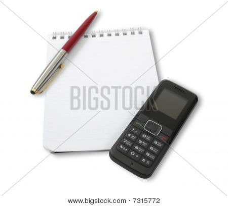 Blank Notebook With Phone And Pen