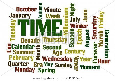 Time, Months, Days word cloud on white background