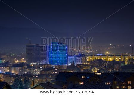 Night view of blue illuminated building