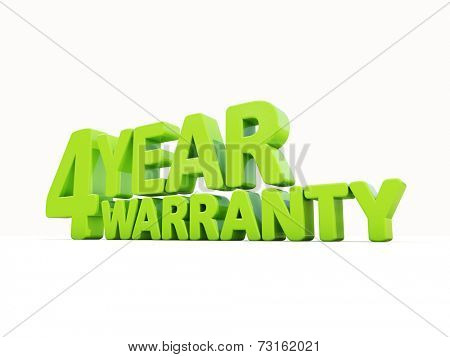 The phrase Warranty on white background