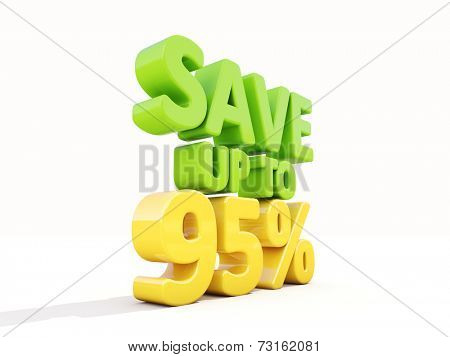 The phrase Save up to % on white background