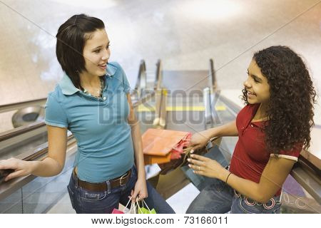 Multi-ethnic teenage girls holding shopping bags
