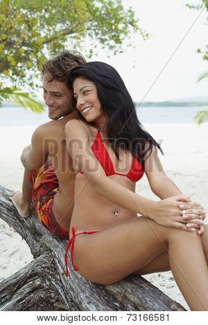 South American couple at beach