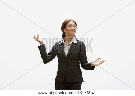 Hispanic businesswoman with arms out