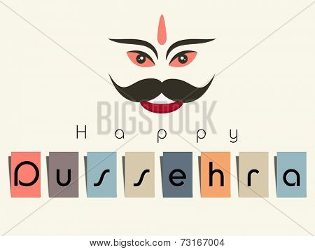 Illustration of  Ravana smiling facewith stylish text on white background.