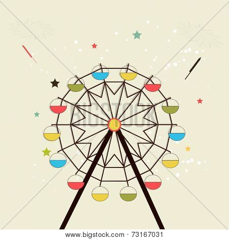 Illustration of a colourful swing with crackers and stars on dotted background.