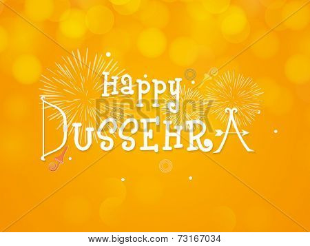 Stylish text of Happy Dussehra with explosion of crackers on bright orange background.