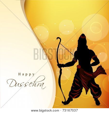 Silhouette of lord Ram holding his bow on bright orange background with stylish text Happy Dussehra.