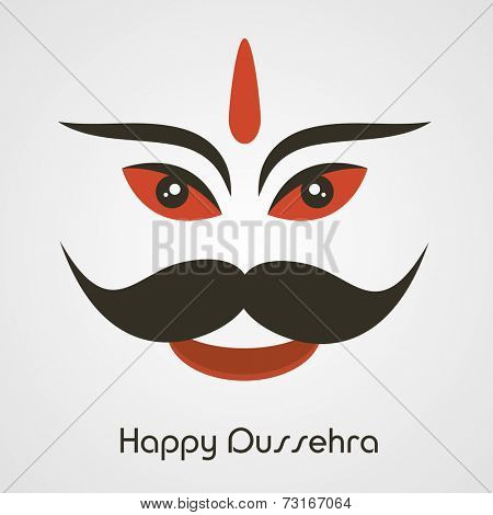 Illustration of  laughing Face of Ravana  with big moustache and stylish text.