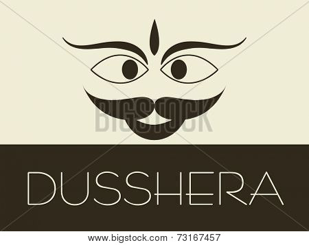 Illustration of kiddish face of Ravana with stylish text.