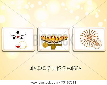 Illustration of Goddess Durga, Ravana with his ten heads and sword and swings in frame on seamless background.