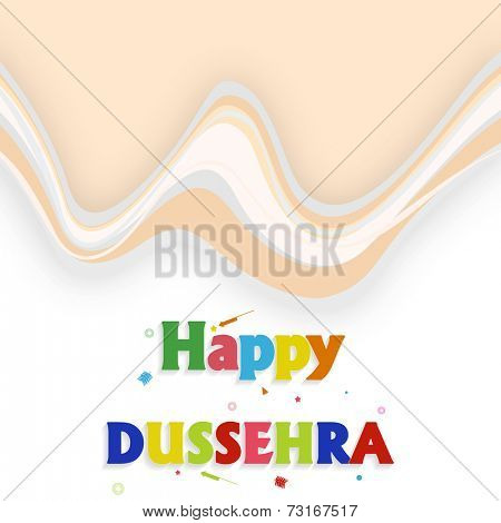 Illustration of colourful Happy Dussehra text with small crackers on seamless background.