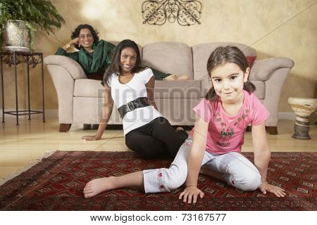 Portrait of multi-generational Indian female family members