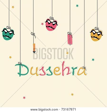 Poster of beautiful hanging text, crackers and Ravan funny face on stars decorated background.