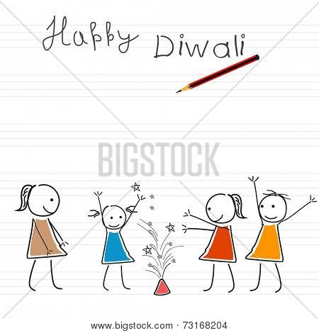 Illustration of kiddish way girls exploxing crackers on note book style decorated background.