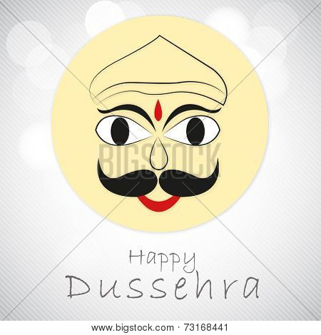 Kiddish face of Ravana with stylish text on linen background.