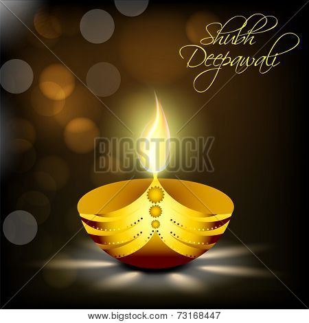 Illustration of illuminated oil lit lamp of golden colour with beautiful text of shubh deepawali in night view.