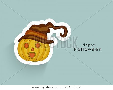 Illustration of a horrible pumpkin wearing witch hat with stylish Halloween text.